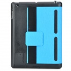 WP-34 Stylish Protective PU Leather Smart Case w/ Holder for Ipad 3 / 4 - Blue + Black