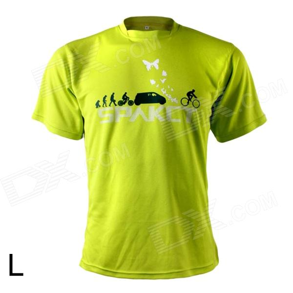 Spakct Outdoor Cycling Polyester Round Neck Short Sleeve T-Shirt - Yellow Green (Size L) spakct s13c02 fashion cycling round collar polyester short sleeve coat black red size xxxl
