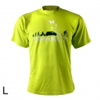 Spakct Outdoor Cycling Polyester Round Neck Short Sleeve T-Shirt - Yellow Green (Size L)