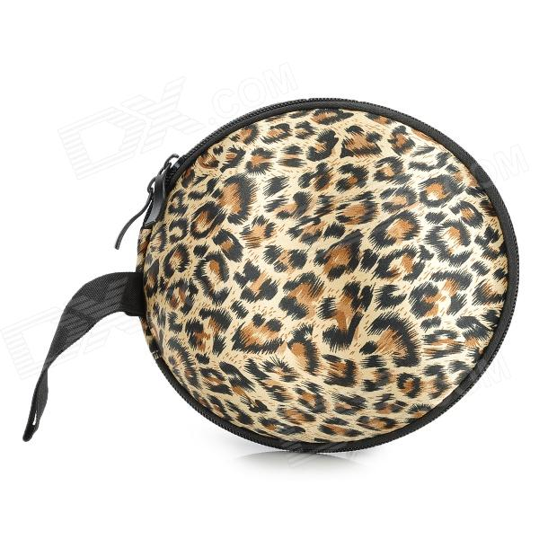 Stylish Convenient Hard Shell Leopard Pattern Bra Storage Organizer - Brown + Black