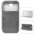 USAMS I9208HY01 Relief Printing Caller ID Display PU + PC Flip-Open Case for Samsung i9208 - Grey