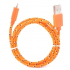 USB Male to 8 Pin Lightning Hemp Rope Style Charging Data Cable for iPhone  - Orange (100cm)