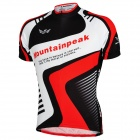Mountainpeak Men's Stylish Sporty Jersey + Short Pants Cycling Outfit - Black + White + Red (XL)