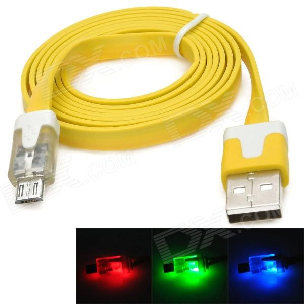 USB Male to Micro USB Male Flat Charging Cable w/ Flashing LED Light for Samsung - Yellow (100cm) самоклейка пленка во владимире