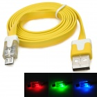 USB Male to Micro USB Male Flat Charging Cable w/ Flashing LED Light for Samsung - Yellow (100cm)