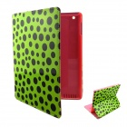 Cartoon Polka Dot Pattern PU Leather Cover Case Stand for Ipad 2 / 3 / 4 - Pink + Green + Black