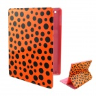 Cartoon Polka Dot Pattern PU Leather Cover Case Stand for Ipad 2 / 3 / 4 - Pink + Orange + Black
