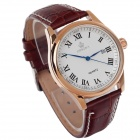 ORKINA P0032 Roman Numeral Scale + Simple Calendar Men's Quartz Watch - Brown + Golden (1 x LR626)