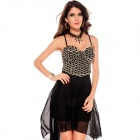 LC6131-2 Fashionable Gorgeous High-Low Sleeveless Chiffon Dress for Women - Black (Size-L)