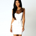 LC2801-1 Sexy Fashionable Golden Studs Peplum Dress for Women - White (Size-L)