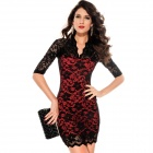 Fashionable Sexy Ladies V-Neck Mini Slim Half-Sleeves Lace Dress - Black + Red (Size-L)