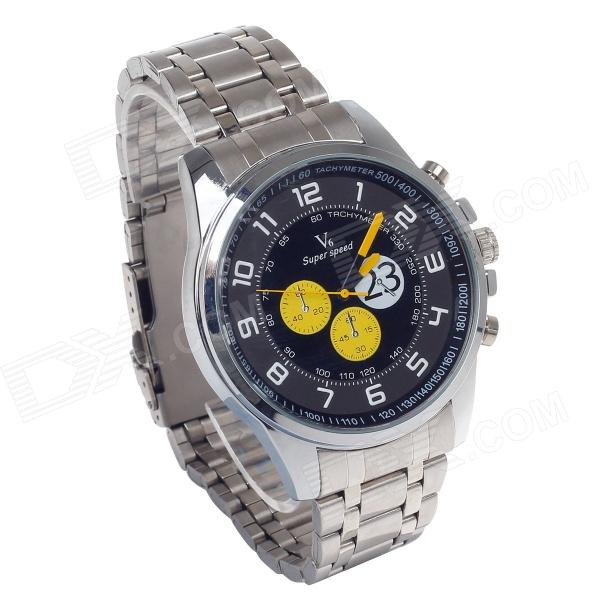 Supper Speed V6 A003 Six Stitch Stopwatch + Arabic Numberal Scale Men's Wrist Watch - Silver + Black