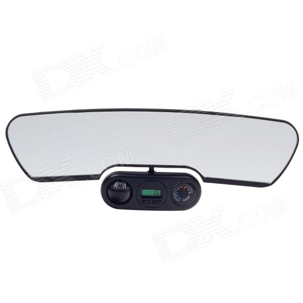 ZW-3111 10.3 Interior Rearview Mirror / Auxiliary Mirror w/ Compass + Thermometer + Clock - Black rosenberg 3111