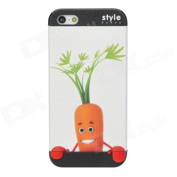 Protective Embossed Cute Carrot Pattern Back Case for Iphone 5 - Orange + Green + Red stylish bubble pattern protective silicone abs back case front frame case for iphone 4 4s