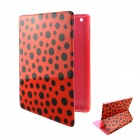 Cartoon Polka Dot Pattern PU Leather Cover Case Stand for Ipad 2 / 3 / 4 - Pink + Red + Black