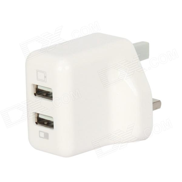 T-063 Dual-USB AC Power Charger Adapter for Iphone / Ipad / Ipod + More - White (110~240V / UK Plug) 3 port usb ac uk plug power adapter for mobile phone tablet pc white 100 240v