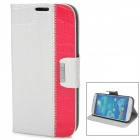 Alligator Grain Pattern Protective PU + Plastic Flip-Open Case for Samsung i9500 - White + Red
