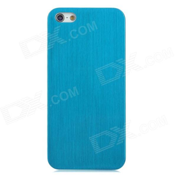 Protective Wire-Drawing Titanium Alloy Back Case for Iphone 5 - Blue