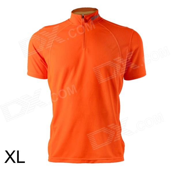 Spakct Outdoor Cycling Polyester Round Neck Short Sleeve T-Shirt - Orange (Size XL) spakct s13c02 fashion cycling round collar polyester short sleeve coat black red size xxxl