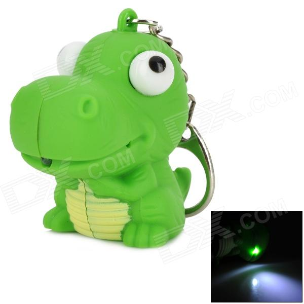 Cute Hippo Style Plastic Key Chain w/ LED White Light - Green (3 x AG10) mini horn style aluminum alloy 3 led 1 mode white light flashlight keychain red 3 x ag10