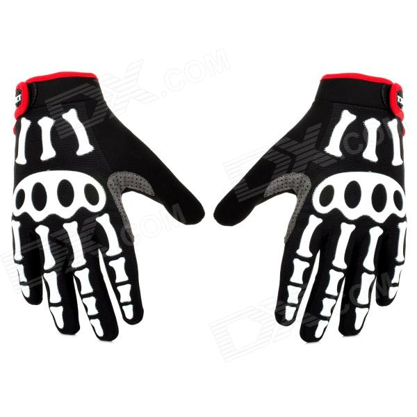 SPAKCT Stylish Skeleton Pattern Non-slip Full Finger Gloves for Cycling - Black + White + Red (L) spakct s13g10 bicycle cycling full finger gloves black white xl