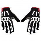SPAKCT Stylish Skeleton Pattern Non-slip Full Finger Gloves for Cycling - Black + White + Red (L)