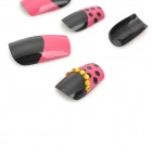 J-1034 Crystal 3D Star Pattern Decorative Nail Tip w/ Glue - Deep Pink + Black + Golden (24 PCS)