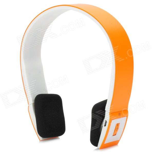 BH-002 Bluetooth V3.0 + EDR Headset w/ Mic - Orange + White sx 910a bluetooth v2 1 stereo handsfree headset black 10 hour talk 135 hour standby