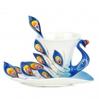 061701 Embossment Peafowl Style Enamel Porcelain Coffee Cup w/ Matched Disc + Spoon Set - Blue