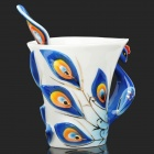 061701 Embossment Peafowl Style Enamel Porcelain Coffee Cup w/ Matching Disc + Spoon Set - Blue