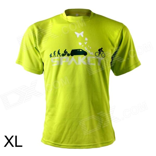 SPAKCT Stylish Short Sleeve Cycling Jersey T-shirt - Fluorescence Green (XL)