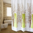 B105-2 Beautiful Tree Pattern Polyester Waterproof Shower Curtain - White + Multicolored