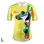 OQsport Cute Frog Pattern Cycling Short Sleeve Zippered Coat - Green + Yellow (Size-L)
