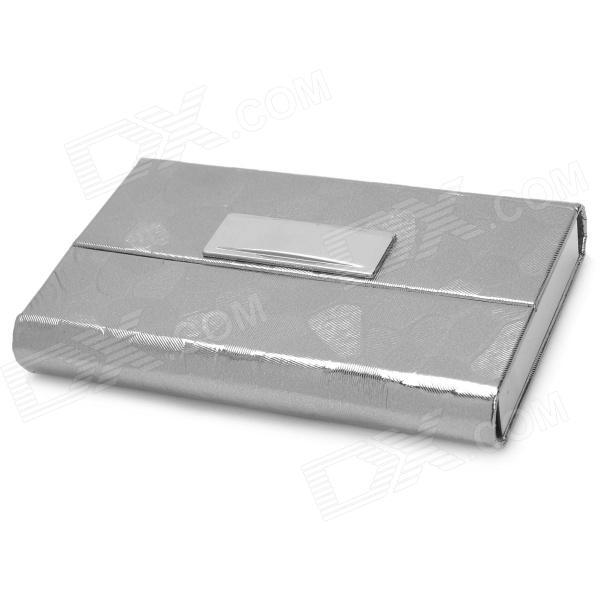 Stainless Steel + PU leather Business Card Case - Silver ae009 30 in 1 pu stainless steel business cards case coffee silver
