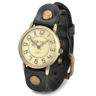 157407 Women's Minera Dial Zinc Alloy Case PU Band Quartz Analog Wrist Watch - Bronze + Black