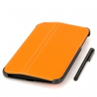 Protective 2-Fold PU Leather Case w/ Stylus for Samsung Galaxy Tab 3 P3200 - Orange