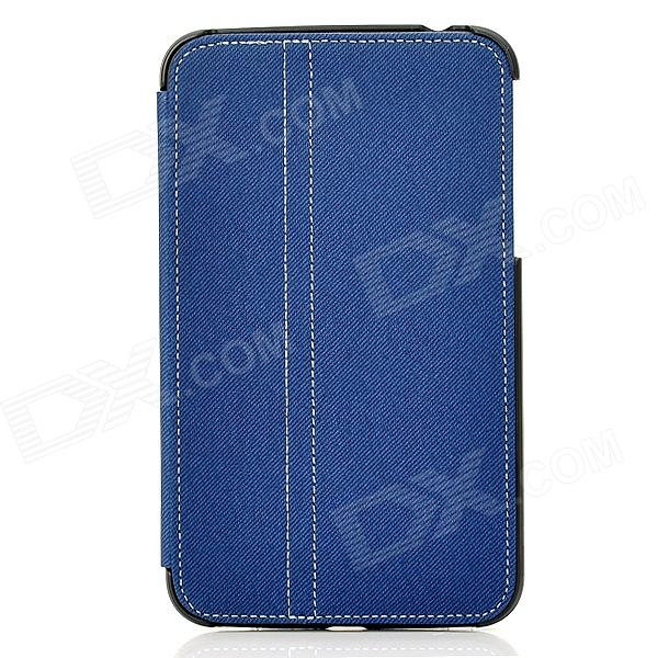 Protective 2-Fold PU Leather Holder Case w/ Stylus for Samsung P3200 - Hyacinth