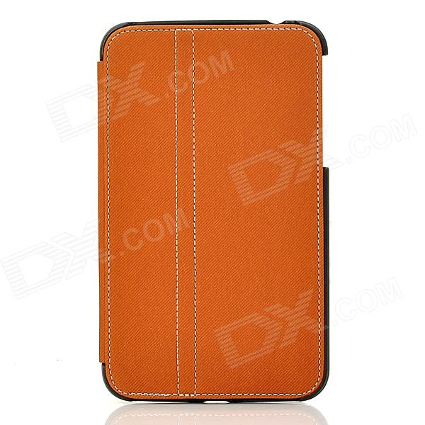 Protective PU Leather Case w/ Stylus Pen for Samsung Galaxy Tab3 P3200 - Brown + Black protective pu leather case w stylus pen for samsung tab 3 7 0 t210 t211 p3200 p3210 orange