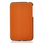Protective PU Leather Case w/ Stylus Pen for Samsung Galaxy Tab3 P3200 - Brown + Black