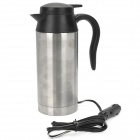Car Cigarette Lighter Powered Electric Water Heater Bottle - Black + Silver White (750ml/DC 12V)