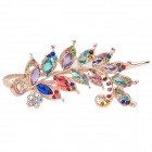 Leaf Style Alloy + Rhinestone Hairpin Clip - Multicolored