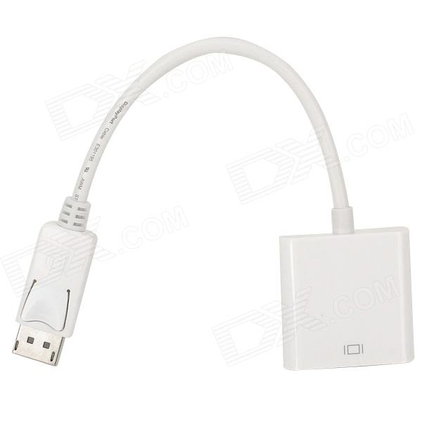 DisplayPort Male to VGA Female Converter Adapter - White - DXLaptop/Tablet Cable&amp;Adapters<br>Brand N/A Quantity 1 Piece Color White Material Plastic + copper Compatible Models Great for connection of television or projector. Connector DisplayPort male to VGA female Certification CE / FCC Other Features Compatible DisplayPort v1.1a standard; Compatible with DVI V1.1 standard; Bandwidth up to 1.65Gbps; Supports 1Mbps bidirectional auxiliary channel; VGA format: VGA SVGA XGA SXGA and UXGA; HD television supported: 480i 576i 480p 576p 1080i and 1080p; Standby mode current: 64uA; Supports hot plugging; Built-in conversion chipset Packing List 1 x DisplayPort to VGA cable (25cm)<br>