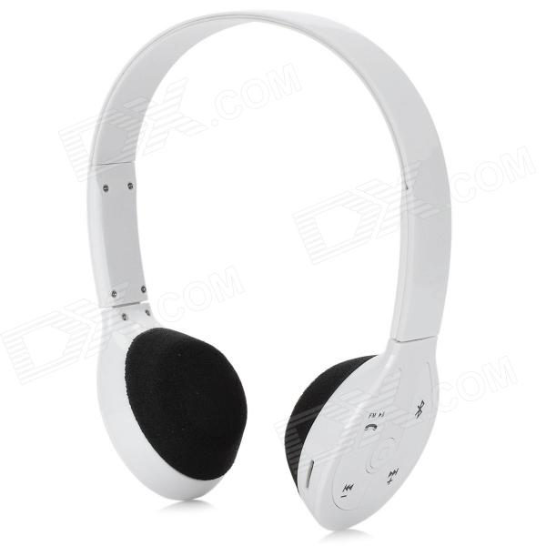 Stereo Bluetooth V2.1 + EDR Headset w/ Mic / TF Slot / FM Radio - White + Black sx 910a bluetooth v2 1 stereo handsfree headset black 10 hour talk 135 hour standby