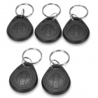 Door Entrance Guard ID Keychain Card - Black + Silver (5 PCS)