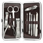 Multi-Functional Nail Clippers Manicure Set w/ PU Case - Coffee + Silver