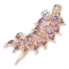 Leaf Style Alloy + Rhinestone Hairpin Clip - Purple + Golden
