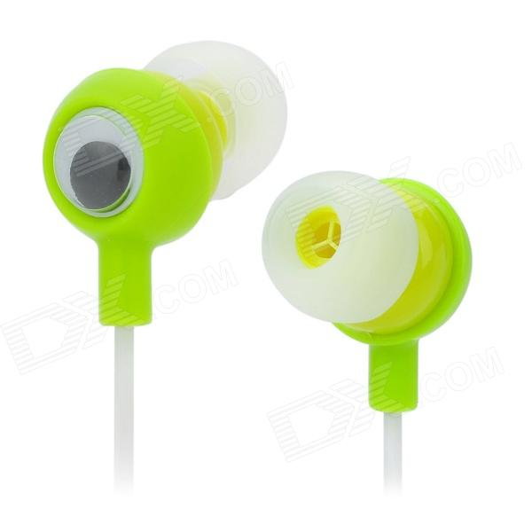 Big Eyes Frog Style 3.5mm Plug In-Ear Earphone w/ Cable Winder - Green + White (109cm)