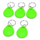 Door Entrance Guard ID Keychain Card - Green + Silver (5 PCS)
