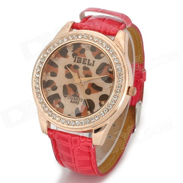 Women's Leopard Pattern Dial Stainless Steel Case PU Band Quartz Analog Wrist Watch - Red + Golden