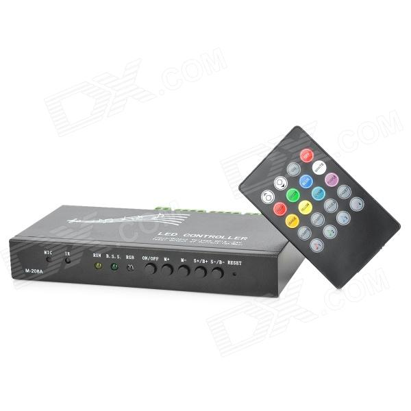 432W Infrared Music LED Controller w/ 20-Key Remote Controller - Black (12~24V) freeshipping dc12v 24v 12a common anode 3 channel dmx 512 decoder controller for led strip light